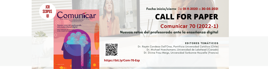 Call For Paper 'Comunicar': Nuevos retos del profesorado ante la enseñanza digital
