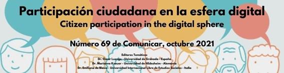 Disponible el número 69 de Comunicar: Participación ciudadana en la esfera digital
